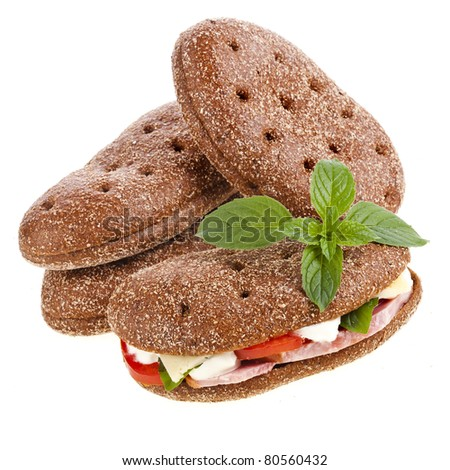 rye bread sandwich isolated on white - stock photo