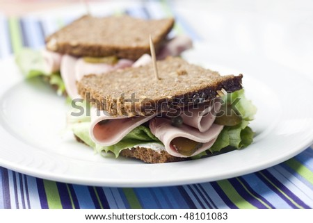rye bread sandwiches with ham - stock photo