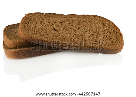 rye bread sliced into pieces on a white background - stock photo