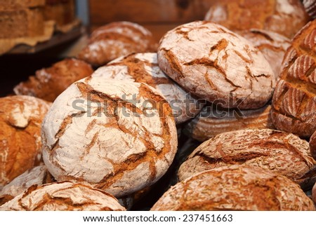 rye bread typical product Tyrolean germany - stock photo