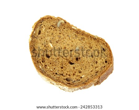 Rye walnuts bread slice isolated on white background. - stock photo
