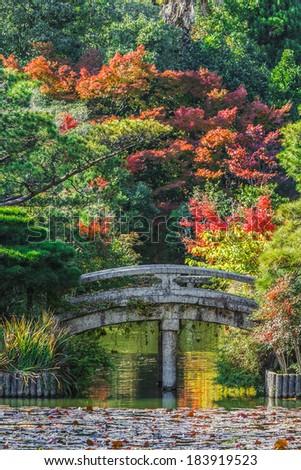 Ryoan-ji Temple Garden in Kyoto - stock photo