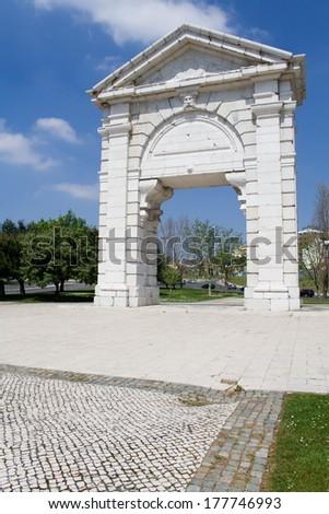 S. Bento Triumphal Arch in Espanha Square, Lisbon, Portugal - stock photo