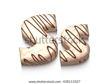 S letter of white chocolate with brown cream in 3d rendered on white background. - stock photo