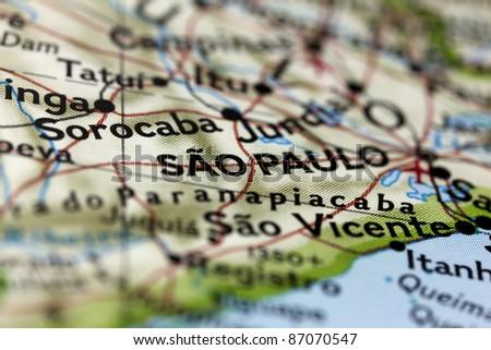 São Paulo in Brazil on the map. - stock photo