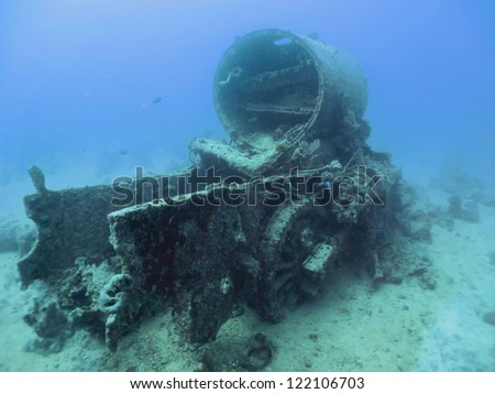 S.S. Thistlegorm Wreck, sunk on 5 October 1941 in the Red Sea and is now a well known dive site. - stock photo