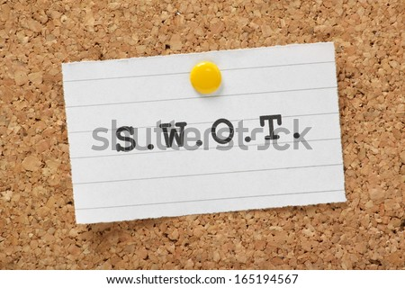 S.W.O.T. the abbreviation for strengths,weaknesses,opportunities and threats as used for business plans and project management - stock photo