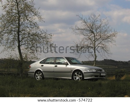 Saab 9-3 Swedish Car in Silver - stock photo