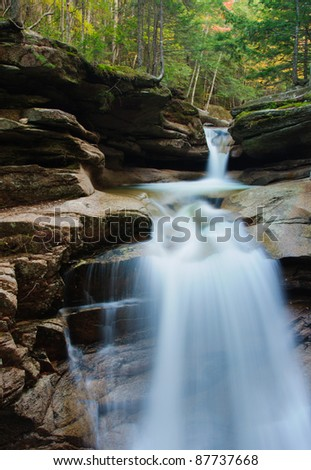 Sabbaday Falls off the Kancamagus Highway in the White Mountain National Forest of New Hampshire, New England - stock photo