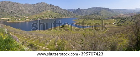 Sabor River in Douro Valley - stock photo