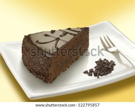 sacher torte slice - stock photo