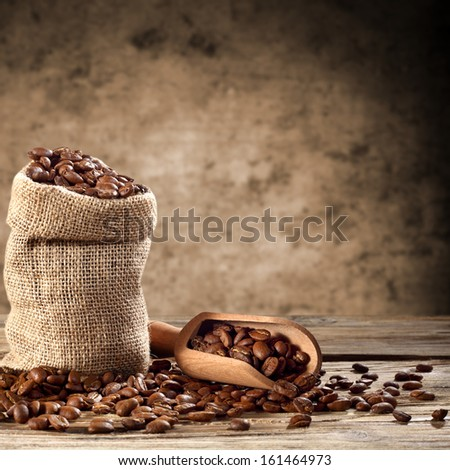 sack of coffee and spoon  - stock photo