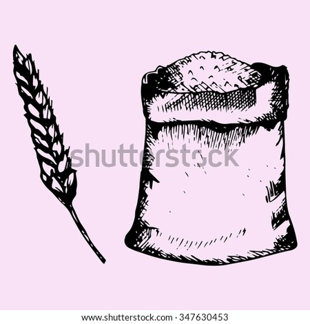 sack of the grain, spike, doodle style, sketch illustration, hand drawn, raster - stock photo