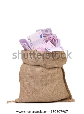 Sack with euro bills. Isolated on a white background. - stock photo