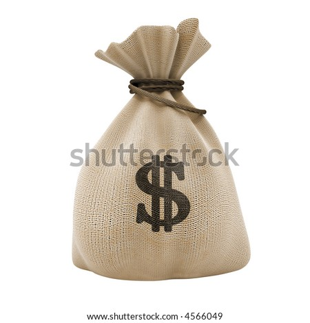 sack with money dollar currency isolated with clipping path included - stock photo