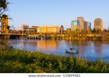 Sacramento at sunset - stock photo