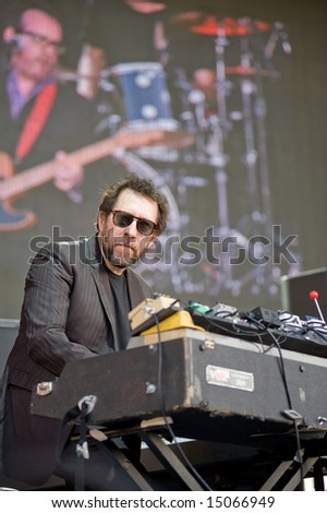 Sacramento, CA - July 17,2008: Keyboardist Steve Nieve performs onstage at the Sleep Train Amphitheater in Marysville, CA with Elvis Costello and the Imposters - stock photo