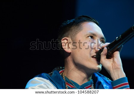 SACRAMENTO, CA - JUNE 6: Kev Nish with Far East Movement performs in LMFAO's tour at Power Balance Pavilion in Sacramento, California on June 6, 2012 - stock photo