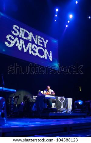 SACRAMENTO, CA - JUNE 6: Sidney Samson performs in LMFAO's tour at Power Balance Pavilion in Sacramento, California on June 6, 2012 - stock photo