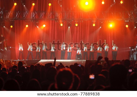 SACRAMENTO, CA - MAY 23: Cast members perform at the Glee Live! In Concert! tour at the Power Balance Pavilion on May 23, 2011 in  Sacramento, California. - stock photo