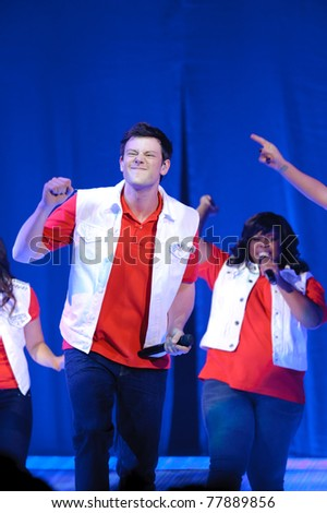 SACRAMENTO, CA - MAY 23: Cory Monteith and Amber Riley performs at the Glee Live! In Concert! tour at the Power Balance Pavilion on May 23, 2011 in  Sacramento, California. - stock photo