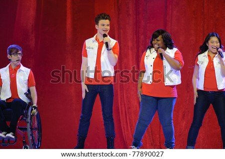 SACRAMENTO, CA - MAY 23: Kevin McHale, Chris Colfer, Amber Riley and Jenna Ushkowitz  perform at the Glee Live! In Concert! tour at the Power Balance Pavilion on May 23, 2011 Sacramento, California. - stock photo