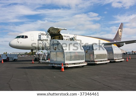 SACRAMENTO, CA - September 13: Boeing 757-24APF UPS on display at California Capital Airshow, September 13, 2009, Mather Airport, Sacramento, CA - stock photo