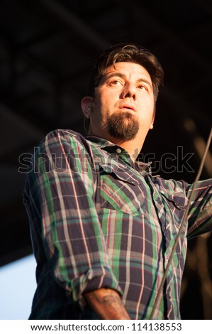 SACRAMENTO, CA - SEPTEMBER 23:  Chino Mareno of the Deftones performs at Aftershock music festival at Discovery Park in  Sacramento, CA on September 23, 2012 - stock photo