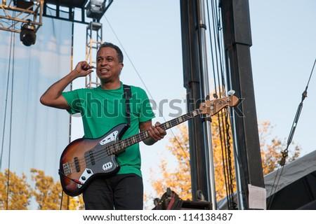 SACRAMENTO, CA - SEPTEMBER 23:  Sergio Vega of the Deftones performs at Aftershock music festival at Discovery Park in  Sacramento, CA on September 23, 2012 - stock photo