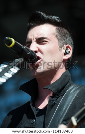 SACRAMENTO, CA - SEPTEMBER 23: Tyler Connolly of Theory od a Deadman performs as part of the Aftershock Music Festival at Discovery Park on September 23, 2012 in Sacramento, California. - stock photo