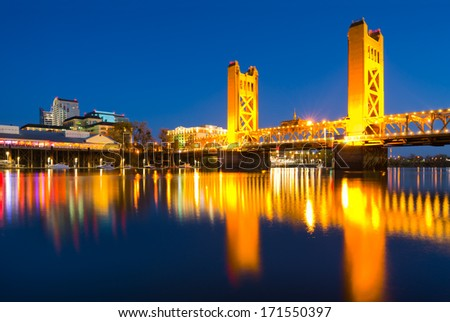 Sacramento California at night - stock photo