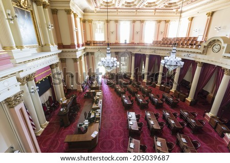SACRAMENTO, CALIFORNIA - July 4, 2014:  California State assembly meeting room in the historic capitol building.   - stock photo