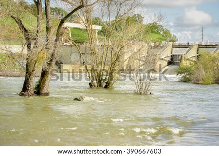 Sacramento, California - March 14, 2016: Localized flooding along the lower American River is a result from recent back-to-back storms in Northern California.  - stock photo