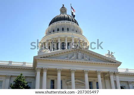 Sacramento Capitol Building in California. The building serves as both a museum and the state's working seat of government. - stock photo