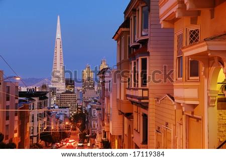 Sacramento Street in Nob Hill, San Francisco - stock photo
