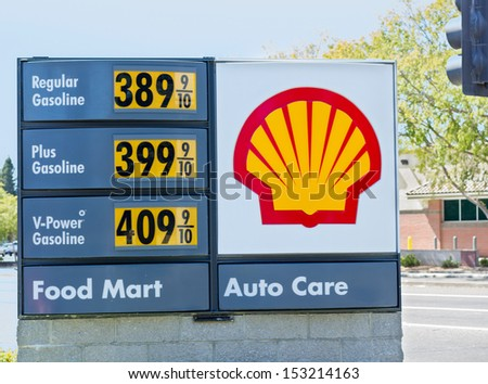 SACRAMENTO, USA - SEPTEMBER 5, 2013: High Shell gas price on September 5, 2013 in Sacramento, California. California holds the leading position in continental US for the fuel cost. - stock photo