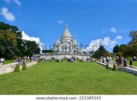 Sacre Coeur Basilica on of Montmartre hill, Paris, France - stock photo