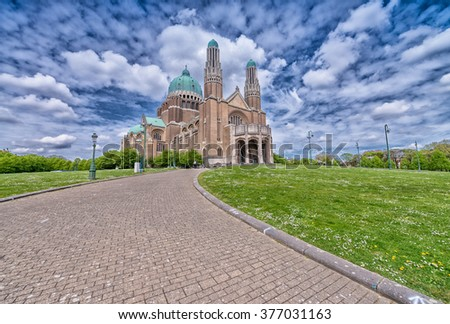 Sacre Coeur Cathedral in Brussels, Belgium. - stock photo