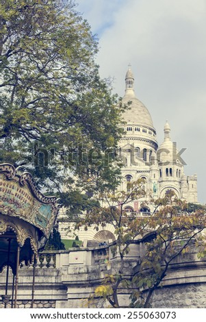Sacre Coeur Cathedral on Montmartre Hill , Paris, France - stock photo
