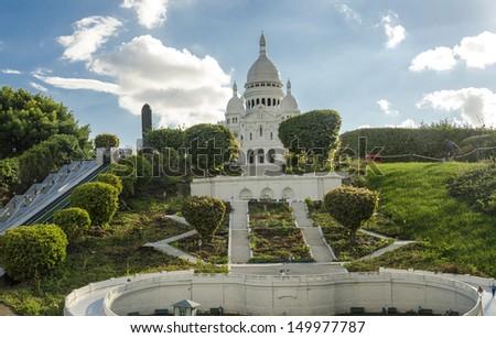 Sacre-Cour of Paris in Mini Europe. - stock photo