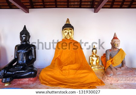 Sacred Buddha images in Surat thani, Thailand - stock photo