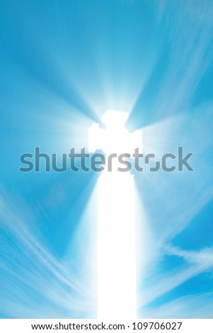 Sacred cross in shined with beams - stock photo