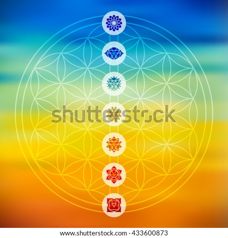 Sacred geometry Flower of Life design with seven main chakra icons over colorful blurred gradient background. - stock photo