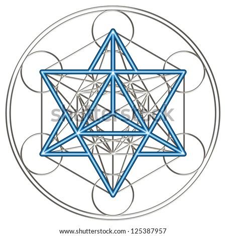 sacred geometry, flower of life, Metatron `s Cube / MERKABA - star tetrahedron /  MER = light, KA = spirit, BA = body - stock photo
