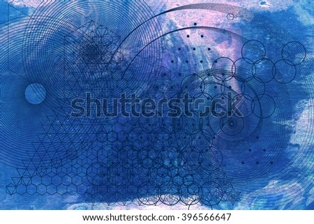 Sacred geometry symbols and elements background. Alchemy, religion, philosophy, astrology and spirituality themes. Matter, space and time. Science in Universe. Golden ratio. - stock photo