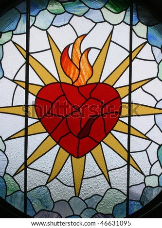 Sacred Heart of Jesus, Stained glass - stock photo