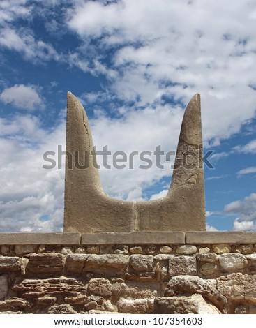 Sacred Minotaur horns stone symbol Knossos palace Crete Greece - stock photo
