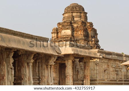 Sacred monuments in Hampi city. Stone temples of the royal dynasty - stock photo