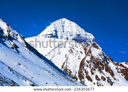 Sacred mount Kailash (elevation 6638 m), which are part of the Transhimalaya in Tibet. It is considered a sacred place in four religions: Bon, Buddhism, Hinduism and Jainism  - stock photo