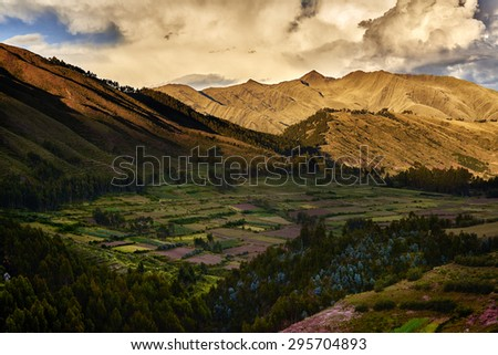 SACRED VALLEY OF THE INCAS, CUZCO, PERU - MAY 30, 2015: Viev along the Sacred Valley of the Incas near Cuzco, Peru. UNESCO World Heritage site. - stock photo